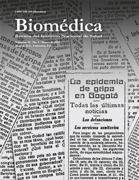 Informes de la gripe española en los periódicos locales de la época Tomado de: Dáguer C. Vigilantes de la salud, un siglo de historia del Instituto Nacional de Salud. Bogotá: Instituto Nacional de Salud; 2018. p. 20